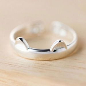 CAT EAR RiNG Jewelry - Silver Cat Ears with Paw Prints Cat Ring